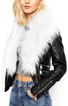 Faux-Leather & Fur Trim Jacket - White Fur