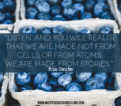 """""""Listen, and you will realise that we are made not from cells or from atoms. We are made from stories."""" —Mia Couto"""