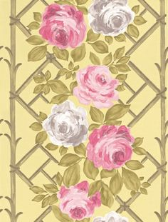 Vionnet Willow (P522/04) - Designers Guild Wallpapers - Beautiful climbing garden roses on a trellis – for the romantic at heart. Shown in with sugar pink and grey roses on a pale gold trellis set against willow green. Please ask for sample for true colour match.