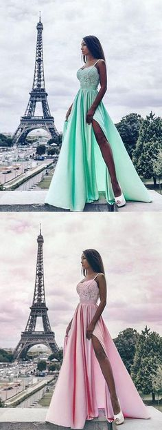 Stylish A-Line Spaghetti Straps Split Front Long Prom Dress,Lace Evening Dress by MeetBeauty, $121.08 USD