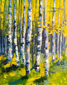 oil painting landscape aspen trees by JaniceWarrinerArt on Etsy, the colour and texture is amazing - i feel as if i am in the forest!