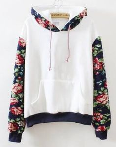 Fashion brand printed pullovers 2015 womens casual new spring white hooded contrast floral loose cotton sweatshirt hoodies