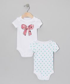 Take a look at this Baby Starters White & Pink Glitter Bow & Polka Dot Bodysuit Set on zulily today!