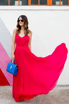 Hot pink maxi pleated dress