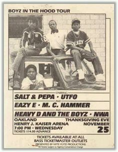 Looking at a #ClassicHipHop tour flyer for the film Boyz In The Hood feat. greats of The Golden Era