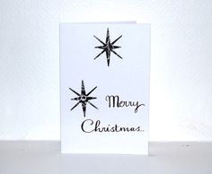 Handmade Black and White Merry Christmas Star Card Pack Of 4 by HomeandaFarr on Etsy Christmas Star, Christmas 2016, Merry Christmas, Arts And Crafts, Black And White, Cards, Handmade, Etsy, Merry Little Christmas