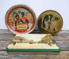 Vintage Tins, Set of 3 Sweet Tin, Toffee Tin, Quality Street, Edward Sharp & Sons, Souvenir Tin, Church Street, Pretoria.  3 Small Tins by VintageLoulabelle on Etsy