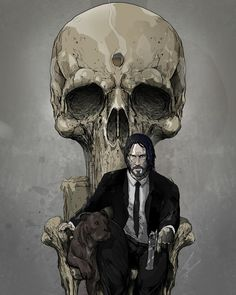'John' - (reworking of my Punisher throne from awhile back) - - MJ.Hiblen ART - August 2019 at John Wick Film, John Wick Hd, Keanu Reeves John Wick, Fanart, Comic Pictures, Badass Pictures, Thundercats, Film Serie, Fantastic Art