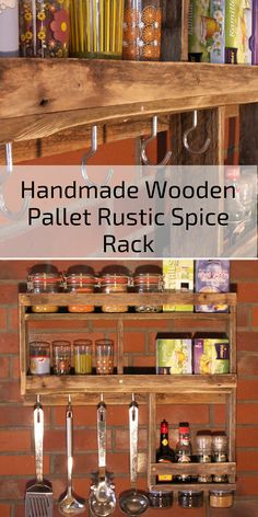 Handmade Wooden Pallet Rustic Spice Rack from Germany. || Etsy || Kitchen ideas, kitchen decor, kitchens, kitchen island, furniture, Home decor, Home decor Ideas, Home, Home ideas, Home design, Home design inspiration, Food, Food Recipes, Food Photography, Food Deserts, Food healthy, DIY food, DIY food For teens, DIY food Recipes, Recipes, Recipes Healthy, Recipes Easy, Organic food