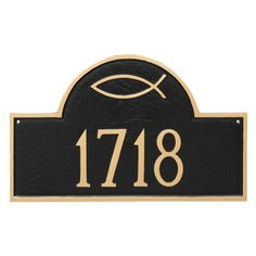 Montague Metal Icthus Classic Arch Standard Address Sign Wall Plaque
