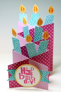 Stampin' Up! ... handmade birthday card ... Cascade Card design with candles poking up ... great card!!