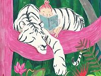 Girl reading next to a  tiger on a Pink tree AWESOME! FROM: Illustration - Simona Ciraolo
