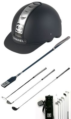 chanel riding helmet and golf clubs