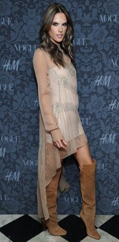 Alessandra Ambrosio's Knee High Boots- Love the whole outfit. The boots keep it from being super dressy the way heels would have done.  This is why women have so many shoes and boots......