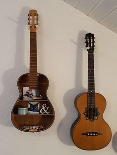 Guitar shelf and vintage parlor guitar Guitar Shelf, Acoustic Guitars, Music Instruments, Shelves, Diy, Vintage, Musical Instruments, Do It Yourself, Bricolage