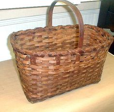 Antique Large New England Split Ash Basket by SwedishGalsAttic, $110.00