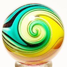 "EDDIE SEESE ART GLASS MARBLE 1-11/16"" RAINBOW MICA JOSEPHS COAT TETRISPHERE | eBay"