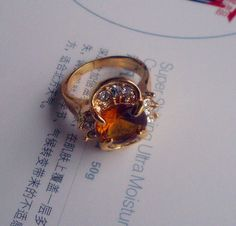 New womefashion jewelry Gold plated cubic zirconia ring A+++shining