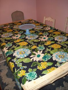 Funky Big FLowers in a Navy Field 50 x 64 by DressYourTable