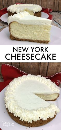 New York Cheesecake recipe. You can make an authentic NY Cheesecake right at hom. New York Cheesecake recipe. You can make an authentic NY Cheesecake right at home. Cheesecake Recipes, Cookie Recipes, Dessert Recipes, Cheesecake Cake, Dessert Food, Just Desserts, Delicious Desserts, Cake Recipes, Pasta Recipes