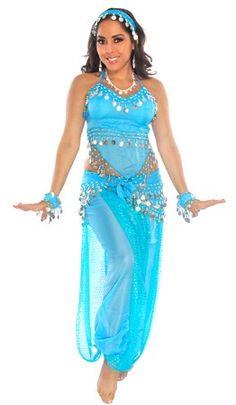 BELLY DANCER HAREM GENIE COSTUME (TURQUOISE/SILVER) - Item #5222 on www.bellydance.com