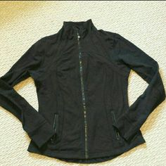 Lululemon Jacket Size 12 Lululemon black jacket Has tumb holes no stains and holes Great condition Has some normal pilings since their material is organics cotton Size 12 fitted I would say true on the size lululemon athletica Jackets & Coats