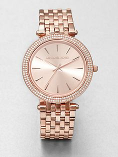 Michael Kors Crystal Rose Goldtone Stainless Steel Watch ... Want!