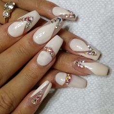 Beautiful Photo Nail Art: 20 Nail designs for long nails Sexy Nails, Fancy Nails, Bling Nails, Nude Nails, Rhinestone Nails, Coffin Nails, White Nails, Acrylic Nails, Fabulous Nails