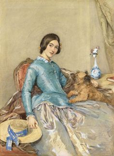 With Her Dog, Here Is Jane Finch, by the British Artist Octavius Oakley Portrait Art, Pet Portraits, Fashion Portraits, Victorian Paintings, Victorian Portraits, Reine Victoria, Art Fund, Lap Dogs, Antique Paint