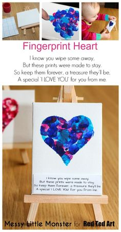 Fingerprint heart keepsake idea for valentines day or mothers day. FREE PRINTABLE POEM. Kids craft for toddlers, preschoolers, babies, eyes . Use a mini canvas or turn them into greeting cards.: