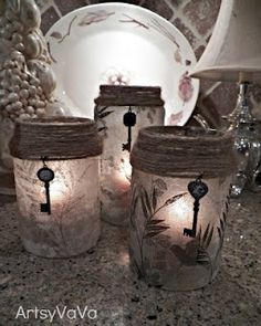 Modge Podge Candle Jars ~ a decorative napkin, some modge podge, and a jar with a little creative accent!  Possibilities are endless!