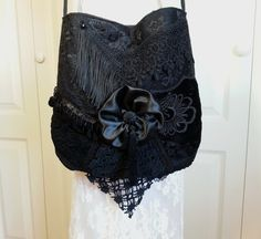Pinning this only because I like this style. But NO SILK! Black Lace Bag - Gypsy Shabby Chic Gothic Lace Bag - Vintage Inspired Lace Purse - Black Lace Purse