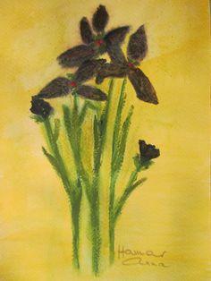Íriszeim. Akvarell, papír. 22 x 16 cm.