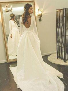 New Long Sleeve Backless Wedding Dresses,A-line Scoop Neck Bridal Gowns,Satin Court Train Wedding Dress,Appliques Lace Bridal Dresses