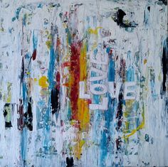 LOVE -Gemälde Modern Abstrakt STRUKTUR LEIN... von Abstrakte, moderne & farbenfrohe Gemälde - Unikate auf DaWanda.com