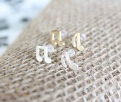 Dainty Musical Note Stud Earrings in Choice of Shiny 18k Gold Plating or Silver Plated Finish