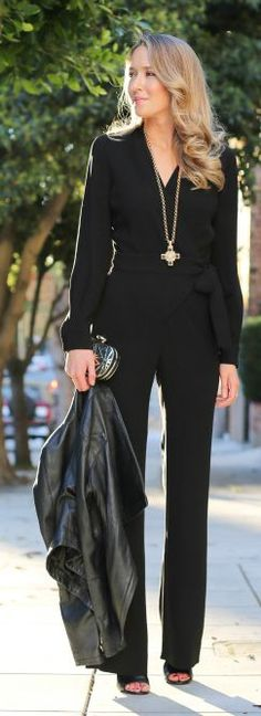 Black Fitted V-neck Jumpsuit