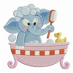 Bathtime Elephants 2 - 4x4 | What's New | Machine Embroidery Designs | SWAKembroidery.com Ace Points Embroidery