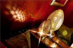 Марокканская настольная лампа, авторская работа. Из меди и серебра.