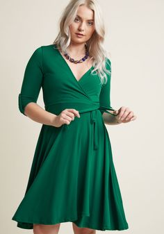 Say Yes to Timeless Wrap Dress in Clover, #ModCloth