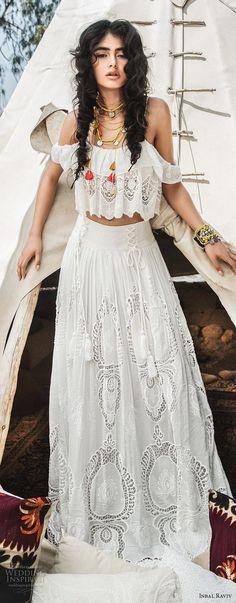 inbal raviv 2017 bridal cold shoulder thin strap full embellishment crop top bohemian soft a  line wedding dress sweep train (lusia) mv -- Inbal Raviv 2017 Wedding Dresses