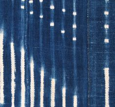 Africa | Partial view of a wrapper from Mali.  Cotton panels make up of narrow strips, indigo resist dyed | Mid 20th century