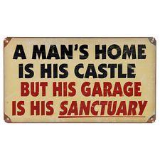 Garage Sanctuary Man's Home His Castle Quote Vintage Mechanic Metal Sign 14 x 8