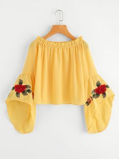 SheIn offers Frill Trim Fluted Sleeve Embroidery Top & more to fit your fashionable needs. Crop Top Outfits, Cute Casual Outfits, Pretty Outfits, Stylish Outfits, Girls Fashion Clothes, Teen Fashion Outfits, Girl Outfits, Girl Fashion, Fashion Beauty
