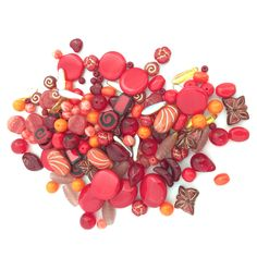 4-18mm Assorted Czech Pressed Glass Bead Mix Orange Red
