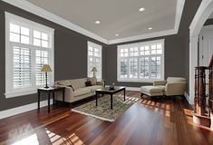 Opt for dark walls with white trim & a grey ceiling to evoke a moody feel in your space. Colors: Pewter Grey, Raindrop White & Forest Black. Find out more ways to use this palette from @MakelyHome via MyColortopia.com