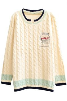 Preppy Look Cable Knit Bottle Embroidered Stripe Trim Sweater