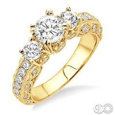 1 1/5 Ctw diamond semi-mount ring in 18K yellow gold