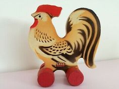 WOODEN LEGO ROOSTER very nice state 1940's vintage rare pulltoy Christmas gift - $439.18 | PicClick Red Rooster, Rooster Teeth, Lego Dog, Vintage Lego, Hens And Chicks, Lego News, Tin Toys, Farm Animals, Handmade Gifts