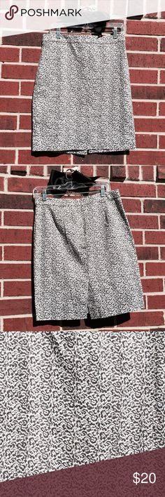 J. Crew Dark Grey & White - The Pencil Skirt J. Crew Grey & White - The Pencil Skirt.  Size 8.   Measurements: Waist 25.5 inches, Hips 18 inches, Length 21 inches.  Fabric 98% Cotton, 2% Spandex.  Excellent condition. J. Crew Skirts